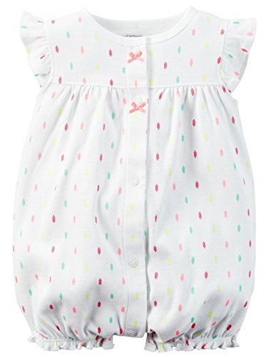 Carters Baby Girls 1-piece Appliqué Snap-Up Cotton Romper (6 Months, White Seahorse)