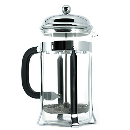 French Press - Premium Quality - Coffee, Tea, Expresso Maker - Easy Cleaning, Double Screen Filter System, Glass, Stainless Steel, Heat Resistant Pot and Portable - Comes With Scoop (34 oz)