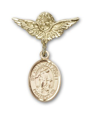 Gold Filled Baby Badge with Guardian Angel Charm and Angel w/Wings Badge Pin