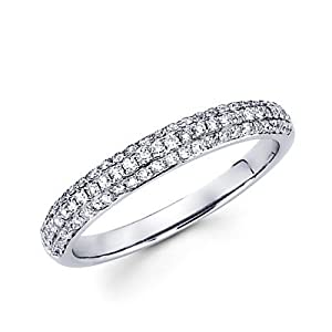 Size- 11.5 - 14k White Gold Round Diamond Pave Dome Ring Band .42 ct (G-H Color, I1 Clarity)