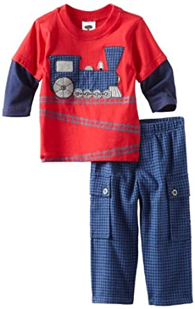 Mulberribush Baby-boys Infant Train Print Two Piece Set, Red, 12 Months