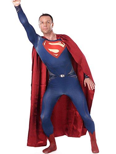 Adult Superman of Steel Costume Superhero Cosplay Zentai Cape