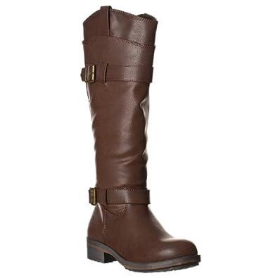 Madden Girl by Steve Madden Women's LAANA Zip Boots, Brown, Size 6