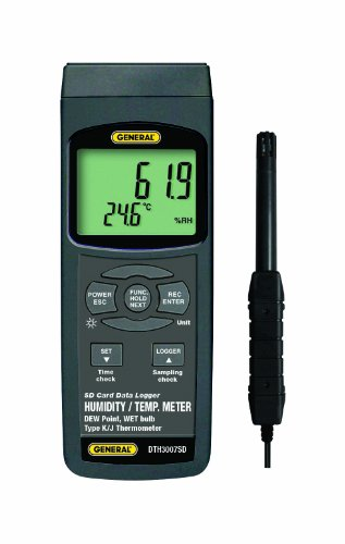 General Tools DTH3007SD Data Logging Thermo-Hygrometer with Excel Formatted SD Card - 1