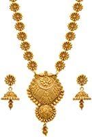 JFL - Traditional Ethnic One Gram Gold Plated Flower Floral Designer Long Women's Necklace Set.