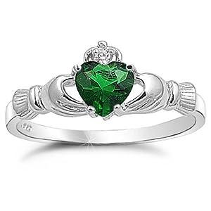 Green Amber Claddagh Ring
