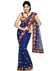 Utsav Fashion Women's Blue Net Saree with Blouse