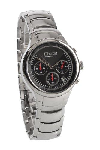 Dolce & Gabbana zione cronometro - Reloj unisex de cuarzo, correa de acero inoxidable color plata
