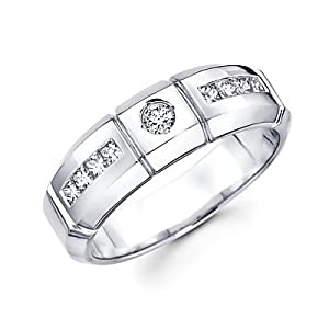 Size- 10 - 14k White Gold Mens Diamond Wedding Ring Band .54 ct (G-H Color, I1 Clarity)