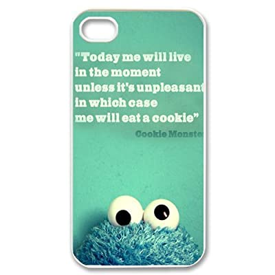 "Film ""The Muppets"" Cookie Monster Protective Hard Case Cover Skin for Apple iPhone 4/4s- 1 Pack - Black/White - 7- Perfect Gift for Christmas"