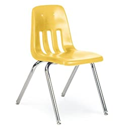 Virco 9000 Series Classroom Chairs, 16in Seat Height, Red/Chrome, Four/carton