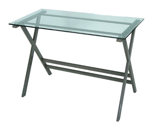 LEVV Graphite Computer Desk with Clear Glass Top