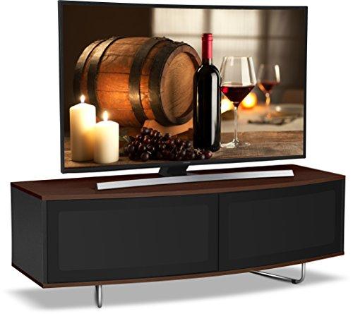 """Centurion Supports Caru nero lucido e noce fascio-thru adatto a distanza super-contemporaneo """"D"""" forma disegno da 32 """"-65"""" TV / OLED / LED LCD Cabinet"""