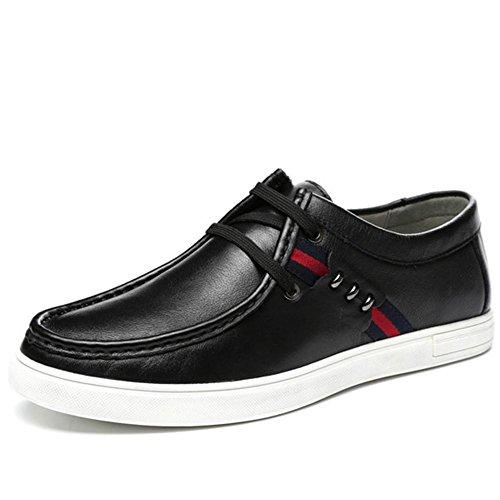 Autunno inverno vera pelle pizzo Casual in pelle moda classico spessore Base scarpe uomo da , black , 39