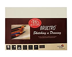 Brusto sketching paper 200 GSM A4 Jumbo pack (Pack of 40+10 free sheets)