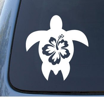 HIBISCUS TURTLE - Tropical - Car, Truck, Notebook, Vinyl Decal Sticker #1212   Vinyl Color: White (Turtle Car Decal compare prices)