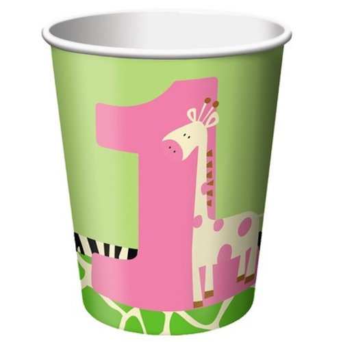 Creative Converting Wild at One Giraffe Hot or Cold Beverage Cups, 8-Count