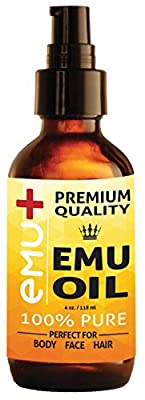 "Premium Quality Emu Oil for Hair Growth, Grade ""A"" Australian Emu Oil for Face, for Body, 100% Pure for Scars, for Acne and Even for Pain! - Amazing Natural Remedy - Nourishes Your Thirsty Skin. 4 Oz."