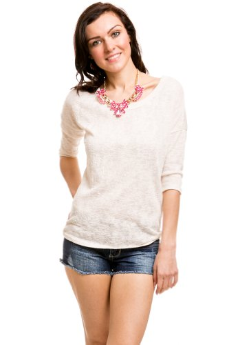 Embossed Basic Sweater In Cream
