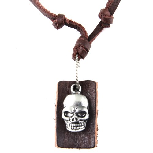 Genuine Dark Brown Leather Cord Necklace / Leather Choker / Leather Necklace With Stainless Steel Skull Pendant and Rectangular Leather Pendant