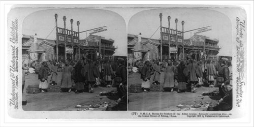 Stereoview (L): Y.M.C.A. rooms for soldiers of the allied armies--formerly a notorious dive--on the
