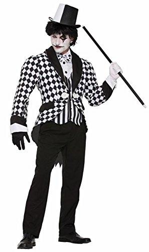 Mememall Harlequin Tail Coat Men Adult Costume Clown Standard Black White (Clown Tailcoat Costume)