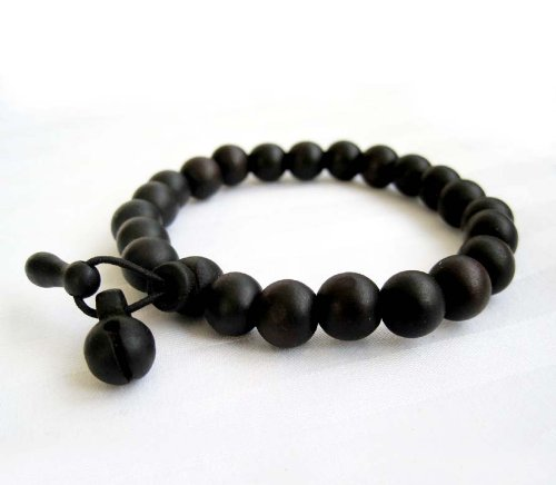 Dark Wood Beads Tibetan Buddhist Wrist Mala Bracelet for Meditation