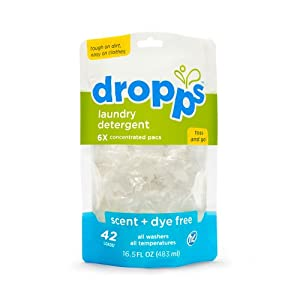 Dropps Laundry Detergent Pacs, Scent + Dye Free, 42 Loads