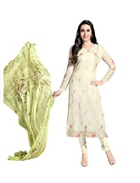 Desi Look Women's Off White Embroidered Georgette Semi Stitched Dress Material With Dupatta