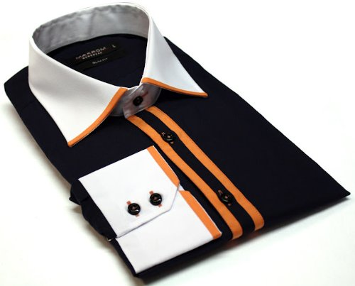 Men's Formal Casual Shirts Contrast Trimed Collar Design Navy Colour