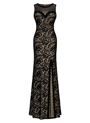 Miusol® Women's Sleeveless Long Black Lace Split Side Evening Formal Dress