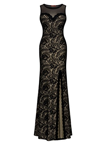 Miusol Women's Sleeveless Long Black Lace Split Side Evening Formal Dress, Black, Medium