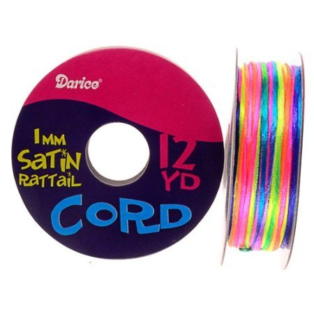 Purchase 1mm Satin Rattail Cord, Rainbow Colors, 12 yd roll (Pack of 1)