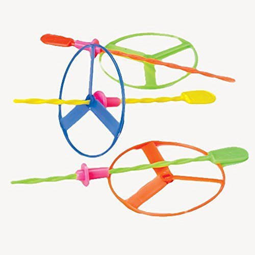 US Toy Dozen Assorted Color Twisty Pull String Flying Saucers Helicopters Toy