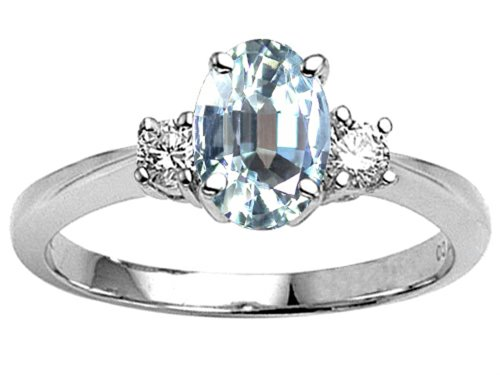 Tommaso Design Genuine Aquamarine Oval Engagement Ring 14K Size 9