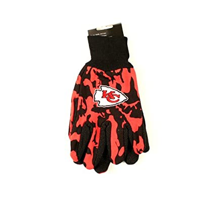 NFL Officially Licensed Team Colored Camo Work Utility Gloves (Kansas City Chiefs)