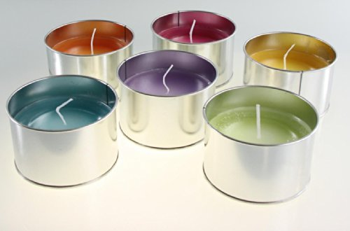 Stera Candles 17940.21006 'Rustic' outdoor party 6-pack of hand cast table candles in aluminium holders, colours: green, blue, orange, purple, pink and yellow