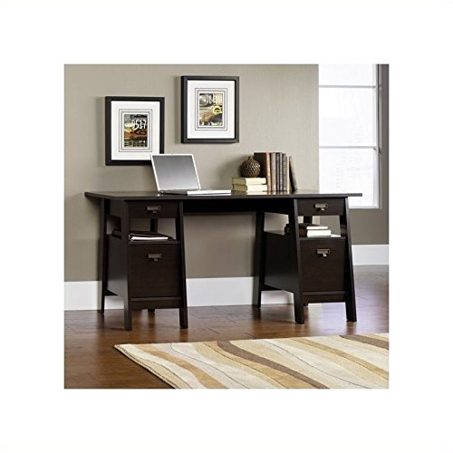 Sauder Executive Trestle Desk, Jamocha Wood Finish Executive Desk Assembly