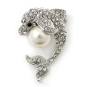 Clear Crystal 'Dolphin With Pearl Ball' Brooch In Rhodium Plating - 37mm Length