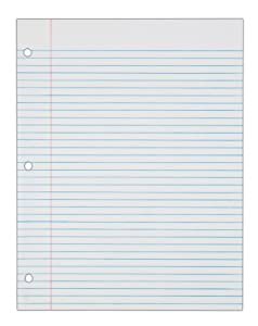 TOPS Notebook Filler Paper, College Ruled, 11 x 8.5 Inches, 3-Hole Punched, Medium Weight, White, 150 Sheets/Pack (62345)