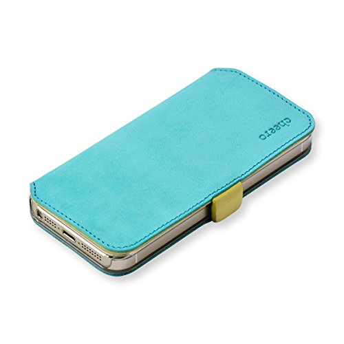 cheero Leather Case iPhone5/5s (Book type) -本革(牛)- (iPhone5/5s, ヌバック ブルー&イエロー)