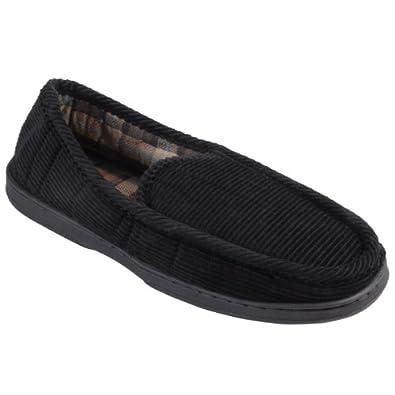 Boston Traveler Mens Lined Corduroy Moccasin Slipper Shoes