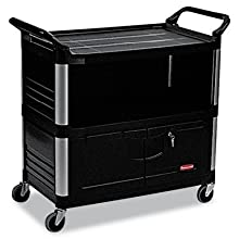 "Rubbermaid Commercial HDPE Service Cart with Ends, 2 Shelves, Black, 300 lbs Load Capacity, 37-13/16"" Height, 40-5/8"" Length x 20-3/4"" Width"