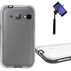DMG LED Flashing Call Notification TPU Back Cover Case for Samsung Galaxy J1 (Black) + Selfie Stick Monopod with Aux (No Battery Needed)