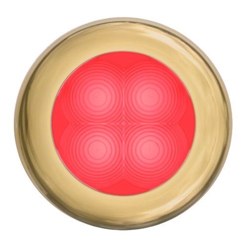 Hella 980508231 '0508 Series' Slim Line Red 24V Dc Round Soft Led Courtesy Light With Gold Stainless Steel Rim