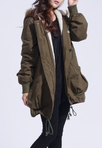 beste jumpo khaki womens hooded winter padded parka 2015. Black Bedroom Furniture Sets. Home Design Ideas
