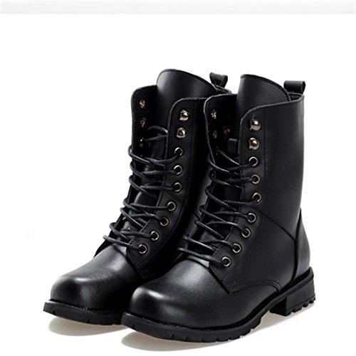 jeansian Moda Donna Casuale Carpe Scarpe Martin Stivali Boots Shoes WSA018 Black 39