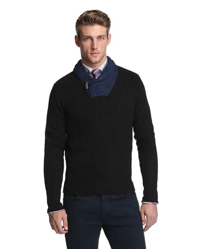 Todd Snyder Men's Two Tone Pullover Shawl Collar Sweater