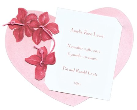 Pink Heart & Red Flowers Die-Cut Card, Pack Of 10 front-1033443