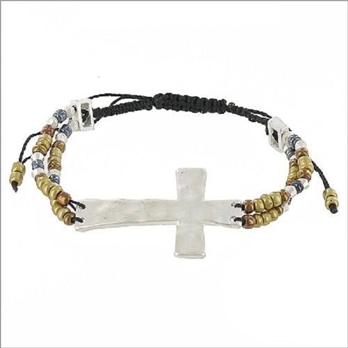 Hammered Metal Cross String Band Bracelet #041465